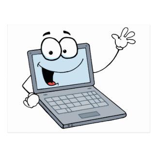 Carte Postale Personnage de dessin animé d'ordinateur portable