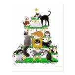 Carte postale personnalisable d'arbre de chat de v