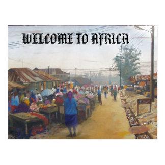 Carte Postale personnes de village, ACCUEIL VERS L'AFRIQUE