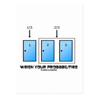 Carte Postale Pesez vos probabilités (trois portes)