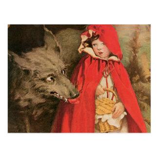 Carte Postale Petit capuchon rouge vintage et grand mauvais loup