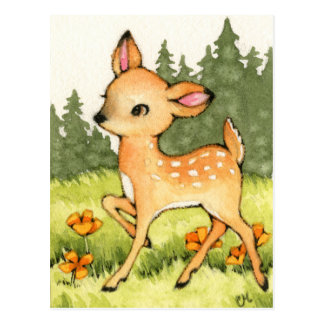 Carte Postale Petit faon - art mignon de cerfs communs