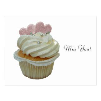 Carte Postale Petit gâteau crème avec les coeurs roses