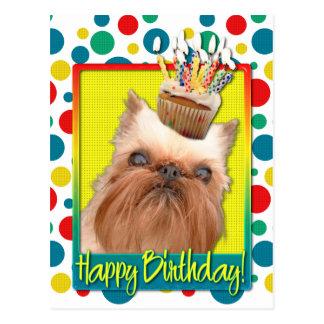 Carte Postale Petit gâteau d'anniversaire - griffon de Bruxelles
