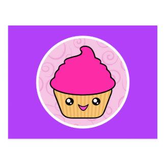 Carte Postale Petit gâteau de rose de gâteau de Kawaii Cuppy