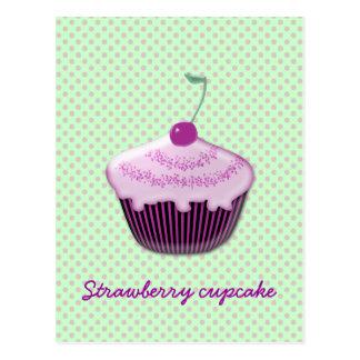 Carte Postale petit gâteau délicieux de fraise