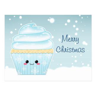 Carte Postale Petit gâteau mignon de flocon de neige de Noël de