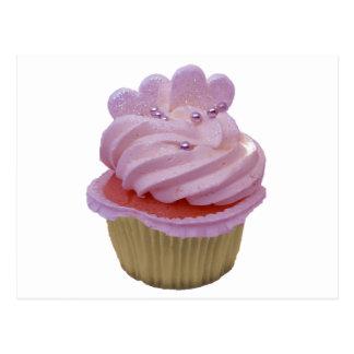 Carte Postale Petit gâteau rose avec des coeurs