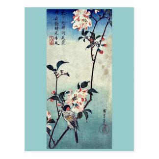 Carte Postale Petit oiseau sur une branche par Andō, Hiroshige