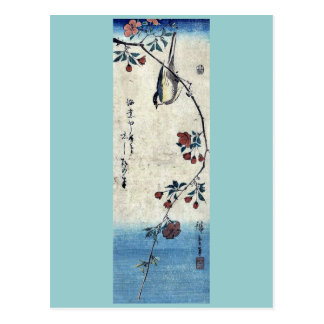 Carte Postale Petit oiseau sur une branche par Ando, Hiroshige