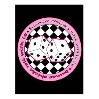 Carte Postale Petit pain de poussins de Bunco avec lui - rose