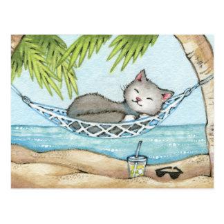 Carte Postale Petit somme dans le paradis - art mignon de chat
