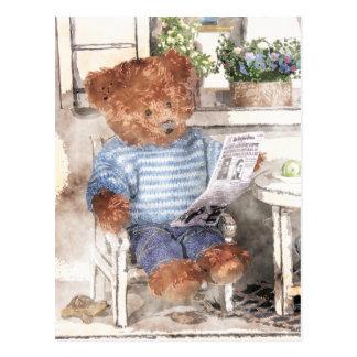 Carte Postale Petite aquarelle d'ours - ours de lecture