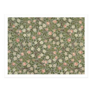 Carte Postale Petite conception de papier peint de fleur rose et