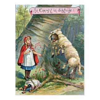 Carte Postale Petite illustration rouge vintage de capuchon
