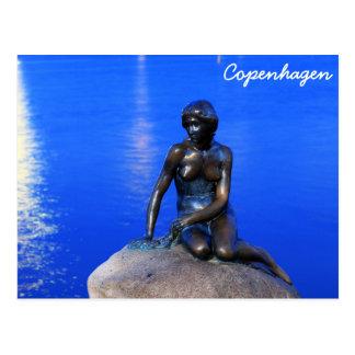Carte Postale Petite statue de sirène, Copenhague, Danemark