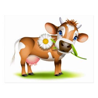 Carte Postale Petite vache du Jersey mangeant la marguerite