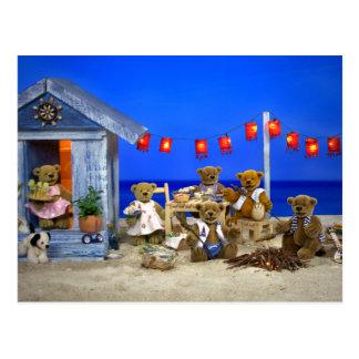 Carte Postale Petits ours : Partie de plage