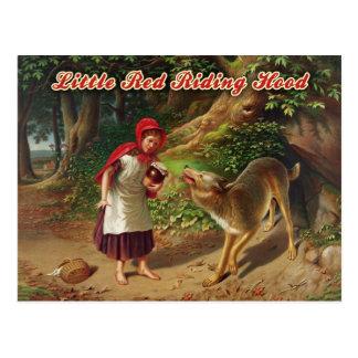 Carte Postale Peu de capuchon rouge et le grand mauvais loup