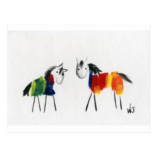 Carte Postale Peu de poneys d'arc-en-ciel