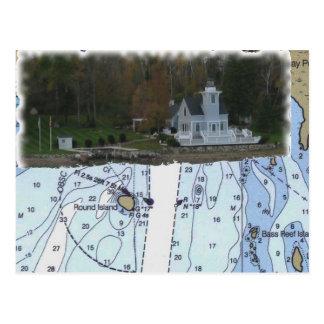 Carte Postale Phare rond d'île, rivière de St Marys, diagramme