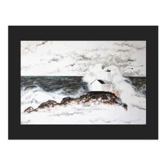 Carte postale Phare Tempête Mer Nuages Aquarelle