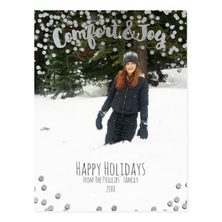 Carte Postale Photo argentée de Noël de vacances de confort et