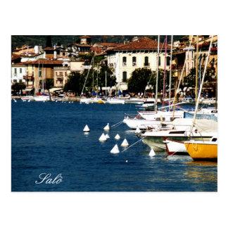 Carte Postale Photo de port et de baie de policier de lac Salò