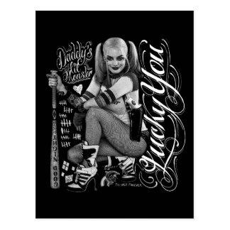 Carte Postale Photo de typographie du peloton | Harley Quinn de