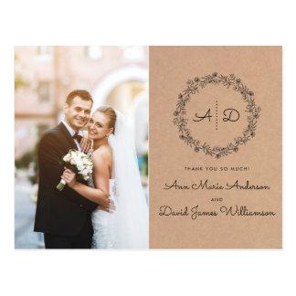 Carte Postale Photo florale rustique de Merci de mariage de