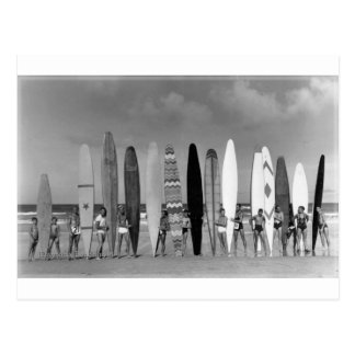 Carte Postale Photo vintage de groupe de surf de panneau de