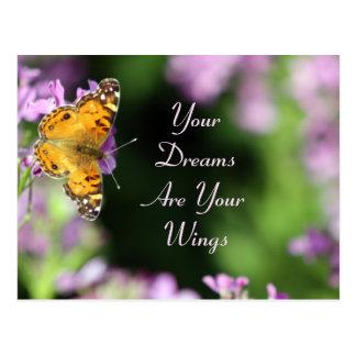 Carte Postale Photographie de papillon de rêves et d'ailes