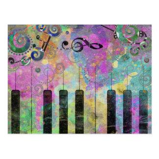 Carte Postale Piano coloré d'éclaboussures fraîches de couleurs