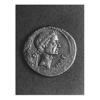 Carte Postale Pièce de monnaie avec un portrait de Jules César