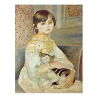 Carte Postale Pierre un Renoir   Julie Manet avec le chat