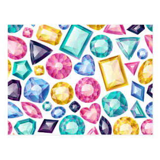 Carte Postale Pierres gemmes brillantes Girly chics de diamant