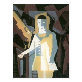 Carte Postale Pierrot par Juan Gris