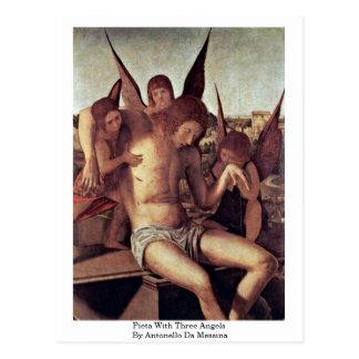 Carte Postale Pieta avec trois anges par Antonello DA Messine