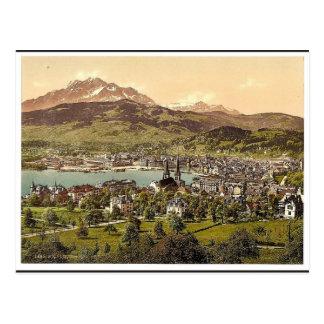 Carte Postale Pilatus et luzerne, vus du tilleul de Drei, Lucern