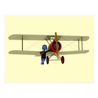 Carte Postale Pilote et biplan