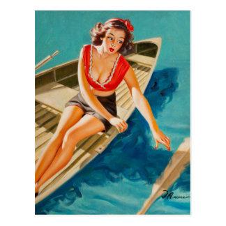 Carte Postale Pin de bateau de rangée vers le haut d'art