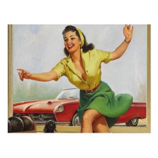 Carte Postale Pin de bowling vers le haut de fille
