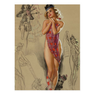 Carte Postale Pin de plaid de tartan vers le haut d'art