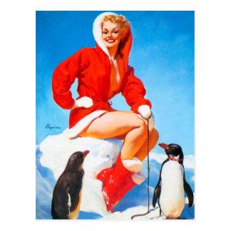 Carte Postale Pin-up de Noël avec des pingouins !