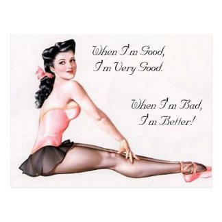 Carte Postale Pin vilain vintage de ballerine vers le haut de