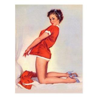 Carte Postale Pin vilain vintage de Noël vers le haut de fille