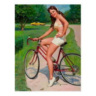 Carte Postale Pin vintage de cycliste de bicyclette de Gil