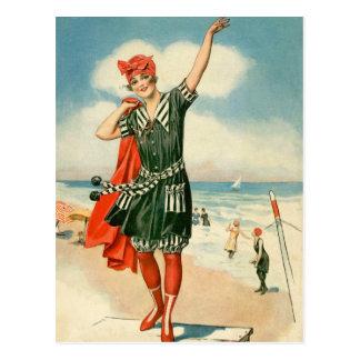 Carte Postale Pin vintage de plage du maillot de bain 20s vers