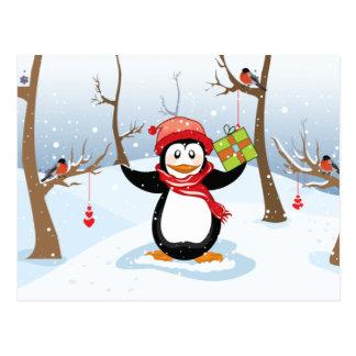 Carte Postale Pingouin avec le paysage d'hiver de cadeau de Noël