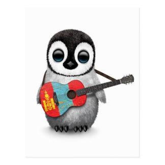 Carte Postale Pingouin de bébé jouant la guitare mongole de